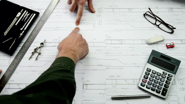 Architect Working on Blue Print video