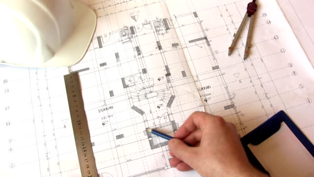 Architect Working With Blueprints video