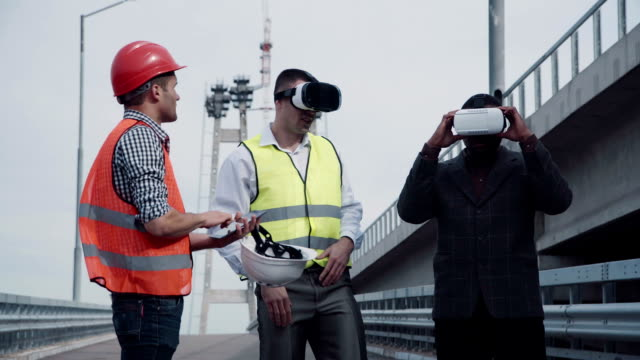 Architects discussing project in virtual reality headset video