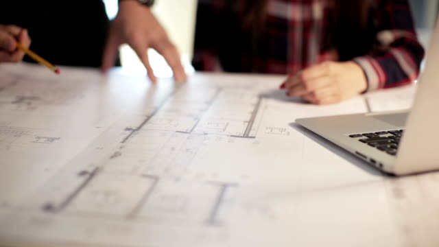 Architects working Architects working blueprint stock videos & royalty-free footage