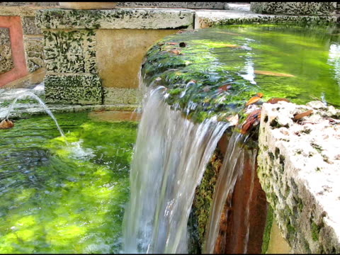 Architectural detail of a decorative waterfall video