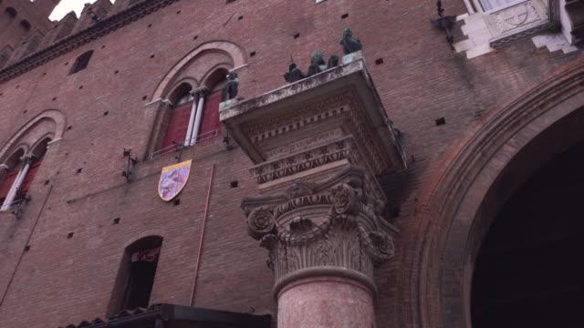 Architectural detail of the Palazzo del Municipio in Ferrara in Italy