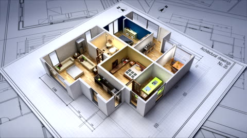 Architectural Drawing changed 3D house interior. Architectural Drawing changed 3D house interior. apartment stock videos & royalty-free footage