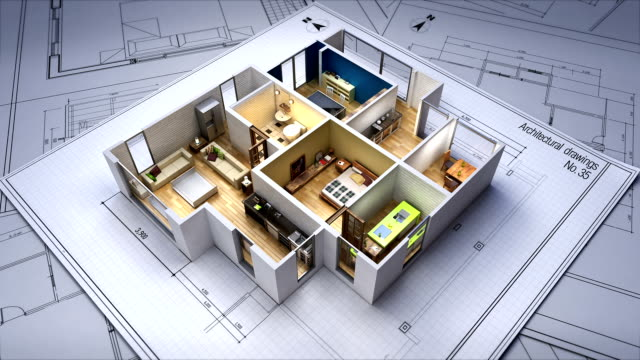 architectural drawing changed 3d house interior. - tridimensionale video stock e b–roll