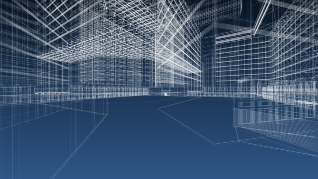 cianografia di architettura - tridimensionale video stock e b–roll