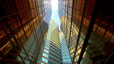 vídeos y material grabado en eventos de stock de arquitectura futurista construcción. edificios de oficinas - negocio corporativo