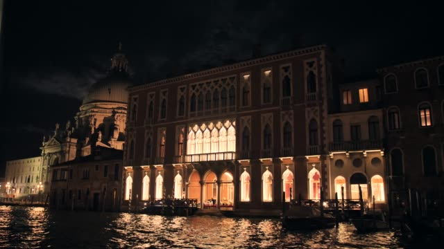 Architecture of Venice at night View from the Central Canal