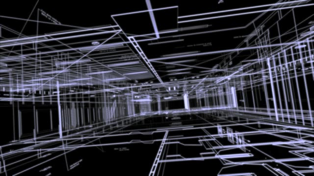 Architecture Plan - black and white background Blueprint -architectural design, moving through wireframe 3D black and white architecture stock videos & royalty-free footage
