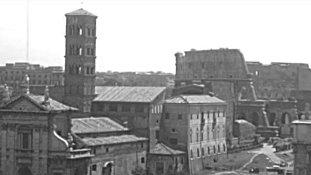 archival and modern roman forum of rome - colosseo 1900 video stock e b–roll