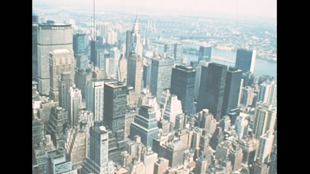 Archival of New York aerial view in 1970s