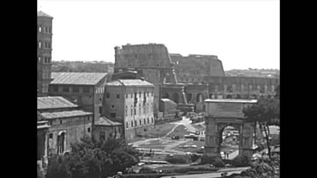 archival panoramic roman forum in rome - colosseo 1900 video stock e b–roll