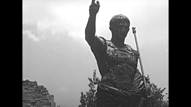 archival statue of Caesar Augustus in Rome video