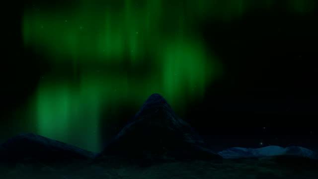 山の風景の上に北極明るい北光。 ビデオ