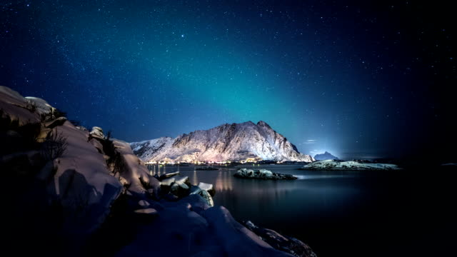 TIME LAPSE: Arctic Fjord at Night video