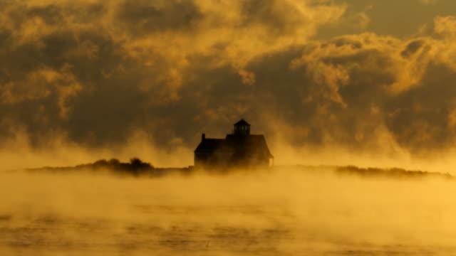 arctic sea smoke in portsmouth harbor - oceano atlantico video stock e b–roll
