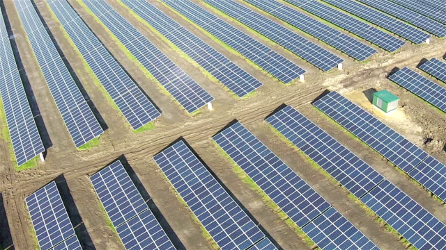 Areal view of solar farm video