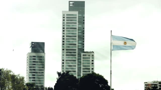 Argentina Flag and Buildings of Buenos Aires (Argentina). video