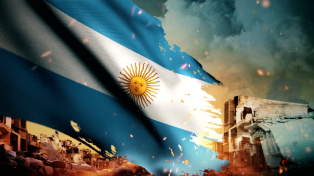 4K Argentina Flag - Crisis / War / Fire (Loop) video