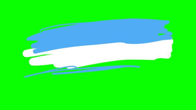 Bandera Argentina dibujo en pizarra pantalla verde aislado - vídeo