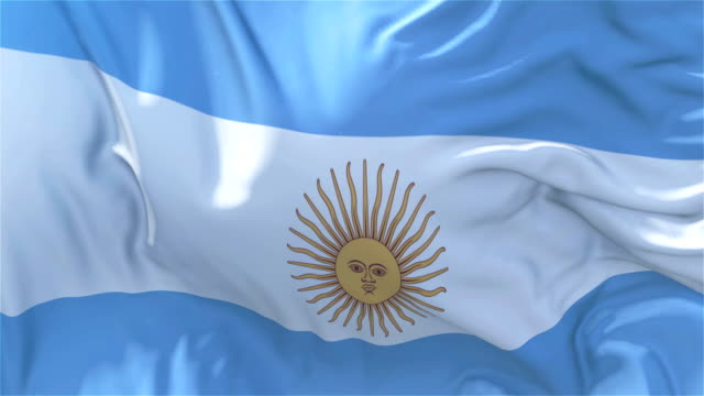 Bandera de Argentina en cámara lenta clásica bandera lisa soplando en el viento en un día ventoso levantamiento lazo transparente continuo fondo de sol 4k - vídeo