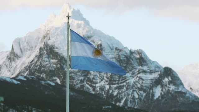 Argentina Flag In Ushuaia, Tierra Del Fuego. Zoom Out. video