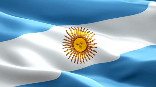 argentina flag motion loop video waving in wind. realistic argentine flag background. argentina flag looping closeup 1080p full hd 1920x1080 footage. argentina south america country flags footage video for film,news - bandiera dell'argentina video stock e b–roll