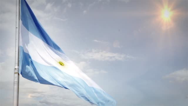 Argentina Flag On Blue Sky. video