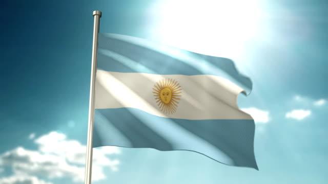 Argentina Flag sky video