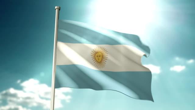 4k argentina flag - bandiera dell'argentina video stock e b–roll