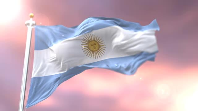 Argentina flag waving at wind at sunset, loop video