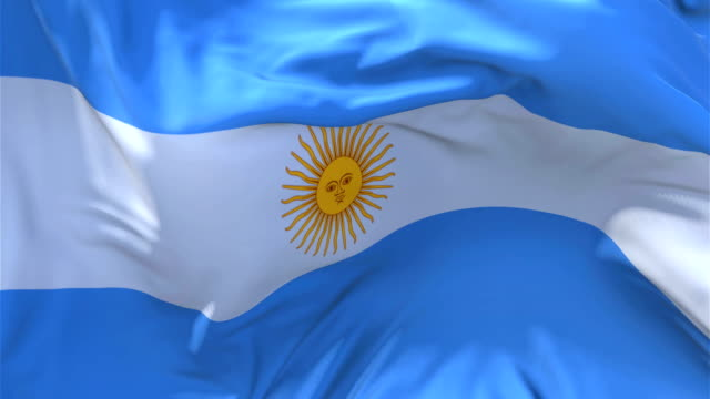 Argentina Flag Waving in Wind Slow Motion Animation . 4K Realistic Fabric Texture Flag Smooth Blowing on a windy day Continuous Seamless Loop Background. video