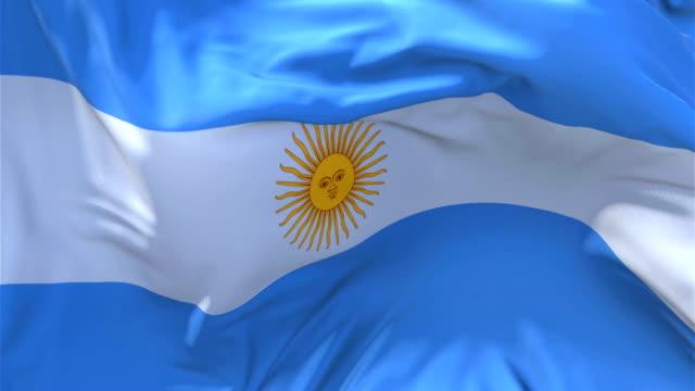 Argentina bandera ondeando en el viento lenta animación. 4K bandera de textura de tela realista suave que sopla sobre un día de viento continuo fondo de bucle sin fisuras. - vídeo