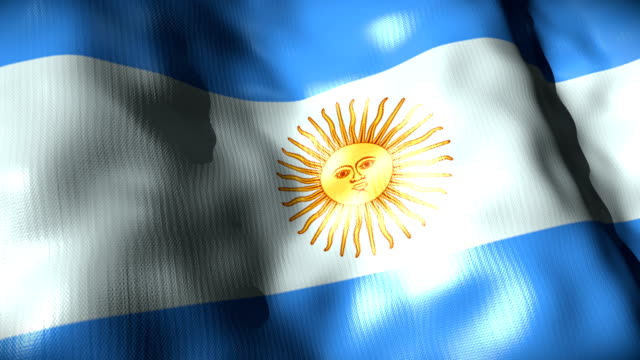 argentina bandiera sventolare, ciclo - bandiera dell'argentina video stock e b–roll
