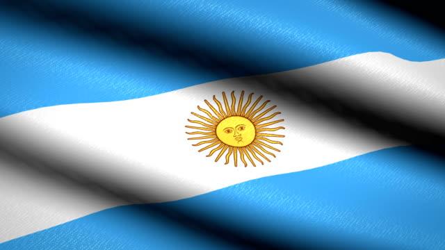 Bandera Argentina ondeando textil textura de fondo. Seamless Loop animación. Pantalla completa. Cámara lenta. Vídeo de 4 K - vídeo