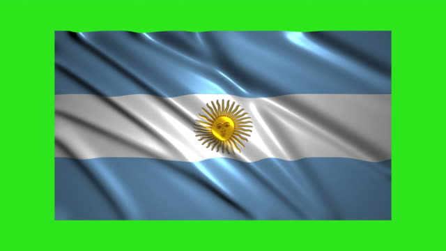 argentina flag waving,loopable on green screen - bandiera dell'argentina video stock e b–roll
