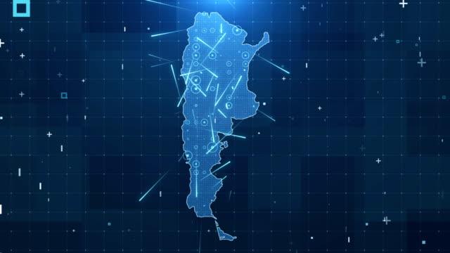 Argentina mapa conexiones todos los detalles de fondo 4K - vídeo