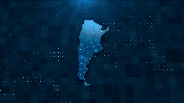 4k argentina karte links mit allen hintergrunddetails - chilli stock-videos und b-roll-filmmaterial
