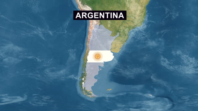 Argentina Map with Argentinian Flag, zoom in to Argentina terrain map from wide perspective view video