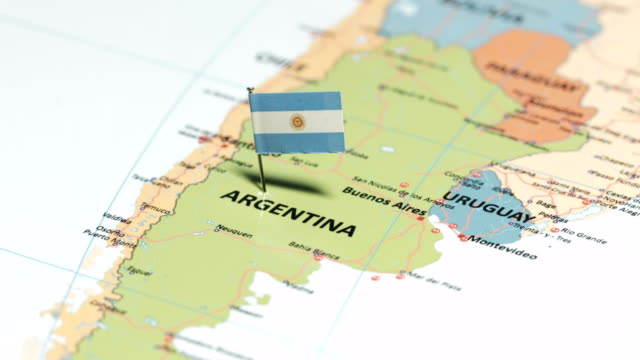 argentina with national flag - sud est video stock e b–roll