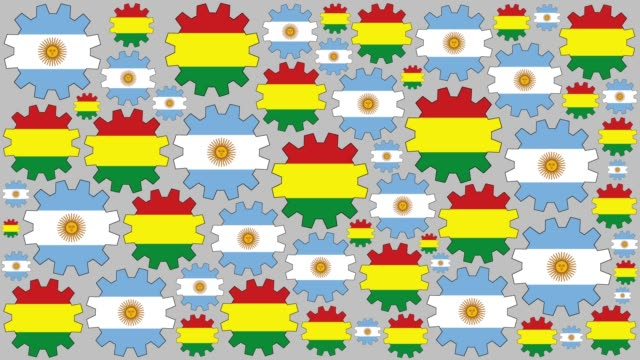argentinian and bolivian flag gears spinning background - bandiera dell'argentina video stock e b–roll