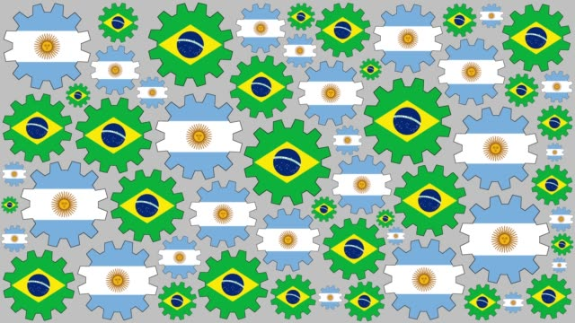 Argentinian and brazilian flag gears spinning background video