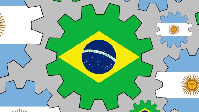 Argentinian and brazilian flag gears spinning background zooming out video