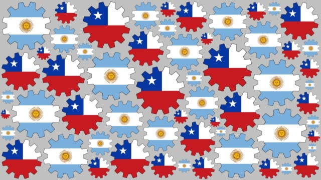 Argentinian and chilean flag gears spinning background video