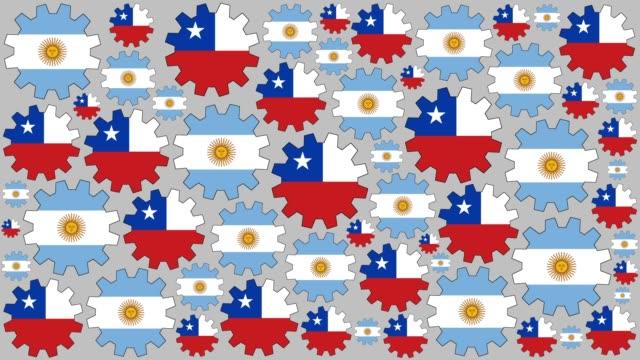 Engranajes de la bandera Argentina y chilena spinning fondo - vídeo