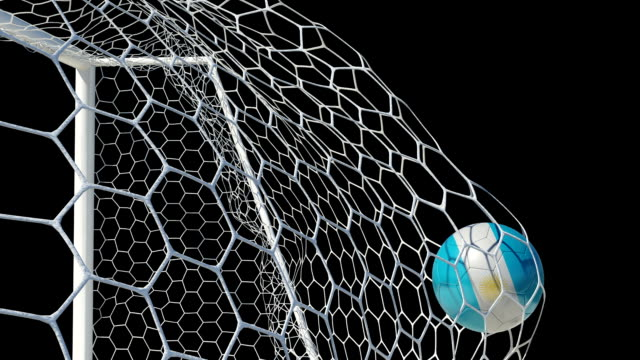 Argentinian Ball Scores in Slow Motion with Alpha Channel video