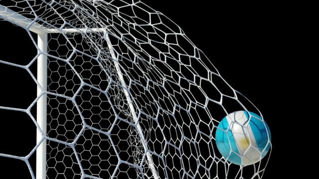 Argentino bola de los puntajes en cámara lenta con canal alfa - vídeo