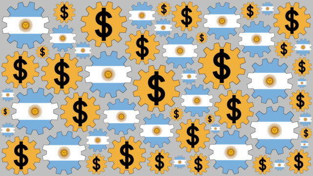Argentinian flag and peso sign gears spinning background video