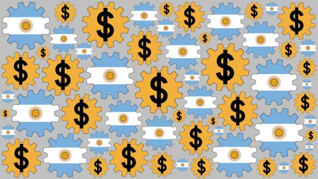 Bandera Argentina y peso firman engranajes girando a fondo - vídeo