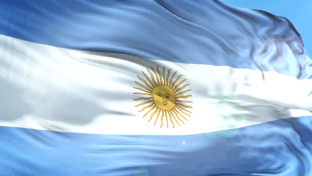 argentinian flag - slow motion - 4k resolution - bandiera dell'argentina video stock e b–roll