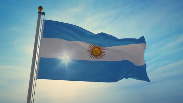 argentinian flag waving is national banner or emblem for argentine people - 4k - bandiera dell'argentina video stock e b–roll